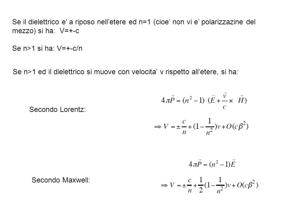 Se il dielettrico e' a riposo nell'etere ed n=1 (cioe' non vi e' polarizzazine del mezzo) si ha: V=+-c