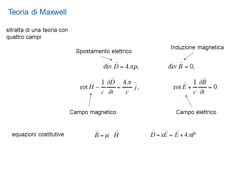 Teoria di Maxwell sitratta di una teoria con quattro campi