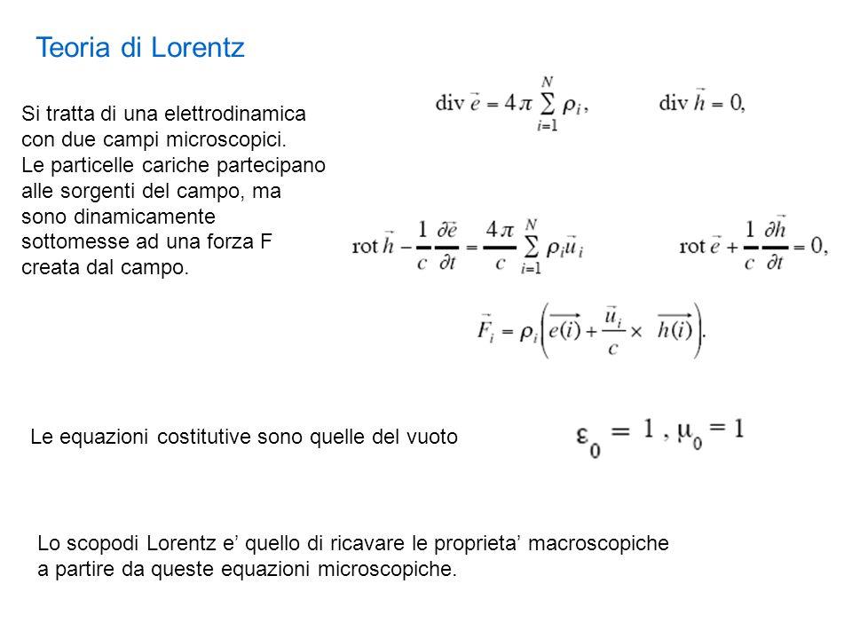 Teoria di Lorentz Si tratta di una elettrodinamica con due campi microscopici.