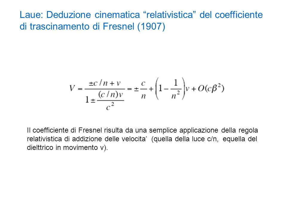 Laue: Deduzione cinematica relativistica del coefficiente di trascinamento di Fresnel (1907)