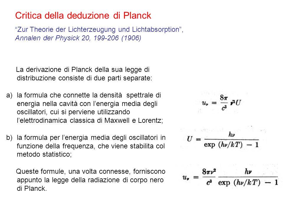 Critica della deduzione di Planck