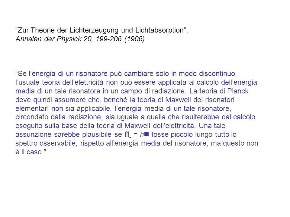 Zur Theorie der Lichterzeugung und Lichtabsorption ,