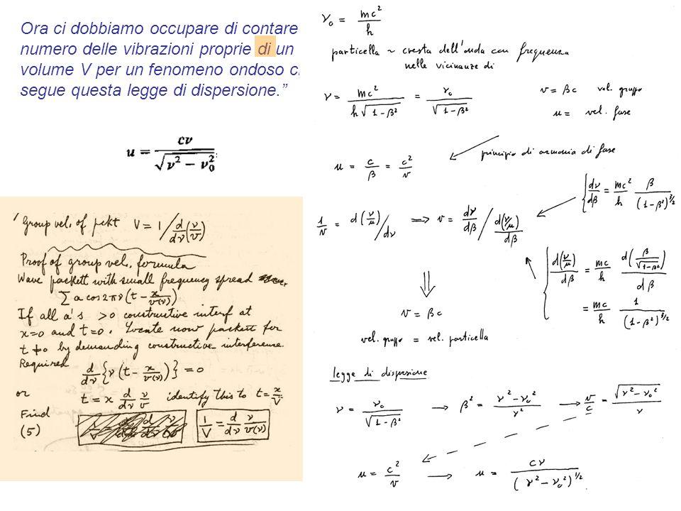 Ora ci dobbiamo occupare di contare il numero delle vibrazioni proprie di un volume V per un fenomeno ondoso che segue questa legge di dispersione.