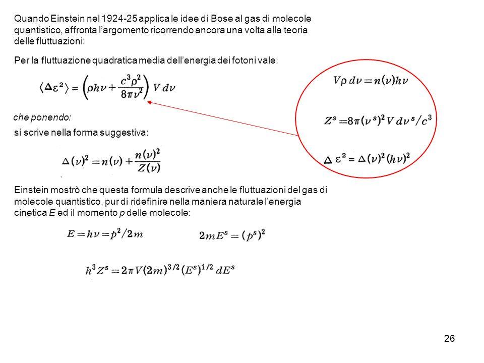 Per la fluttuazione quadratica media dell'energia dei fotoni vale: