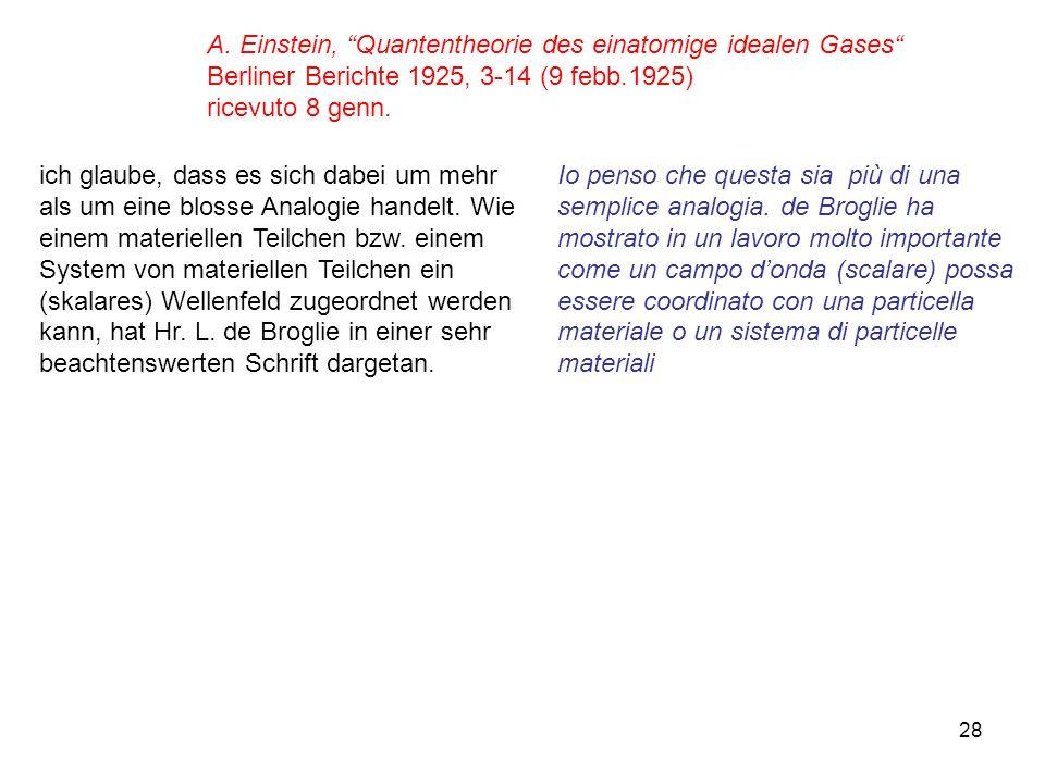 A. Einstein, Quantentheorie des einatomige idealen Gases