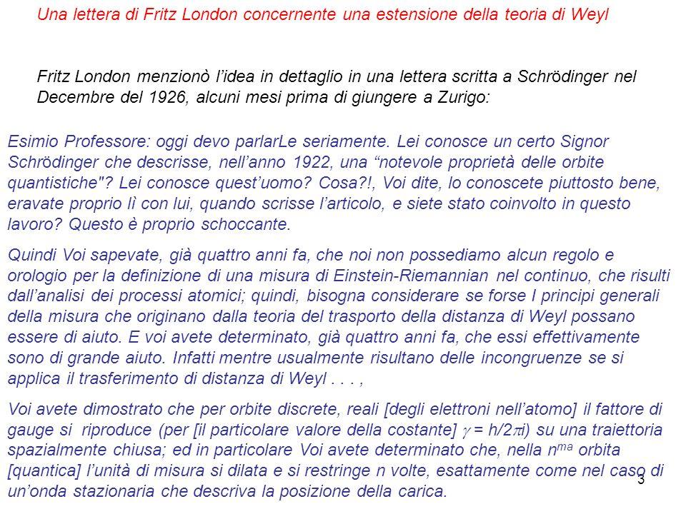 Una lettera di Fritz London concernente una estensione della teoria di Weyl
