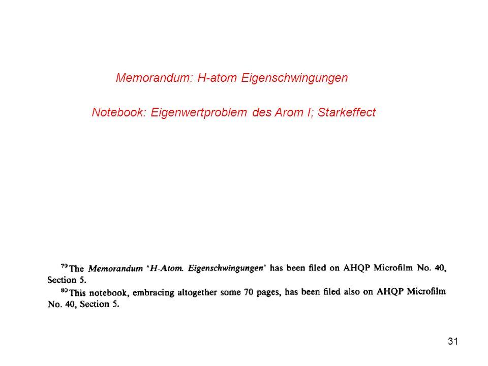 Memorandum: H-atom Eigenschwingungen