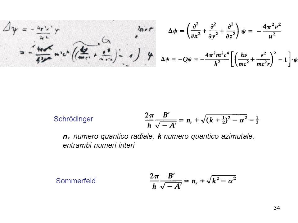 Schrödinger nr numero quantico radiale, k numero quantico azimutale, entrambi numeri interi.