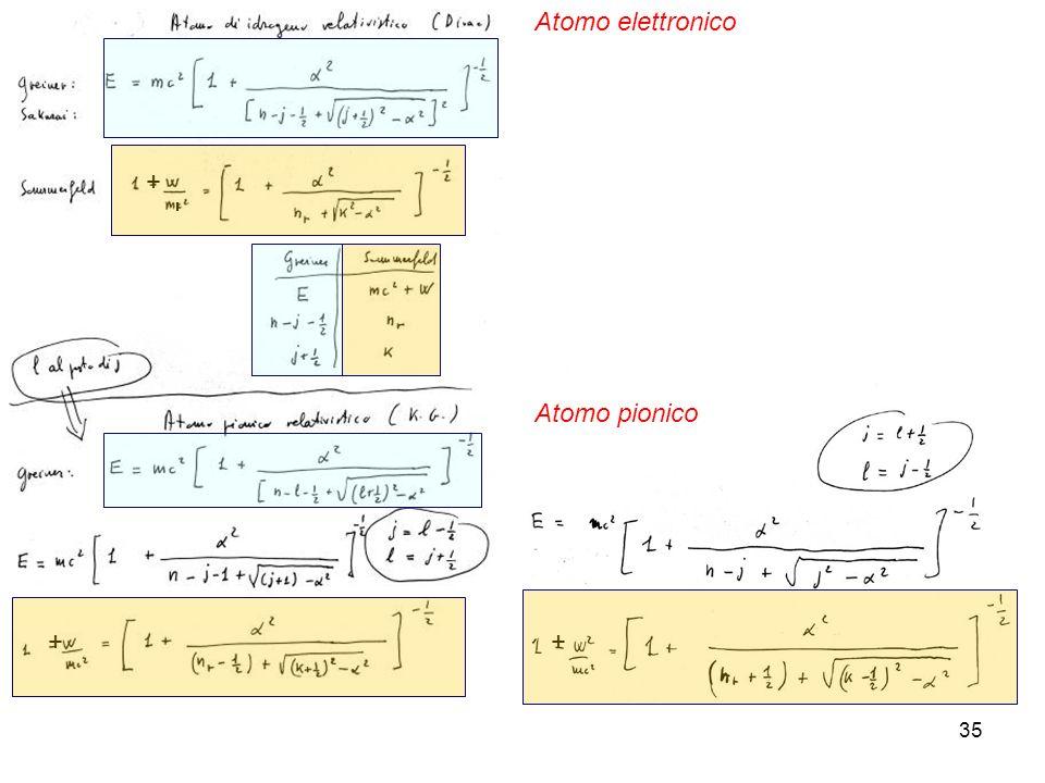 Atomo elettronico + Atomo pionico + +