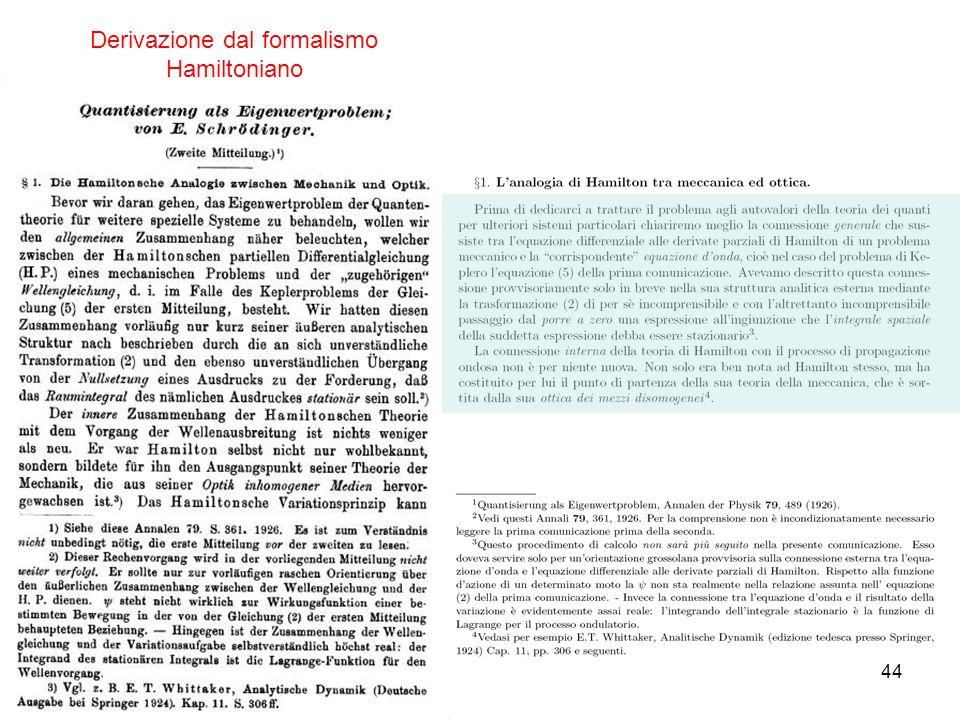 Derivazione dal formalismo Hamiltoniano