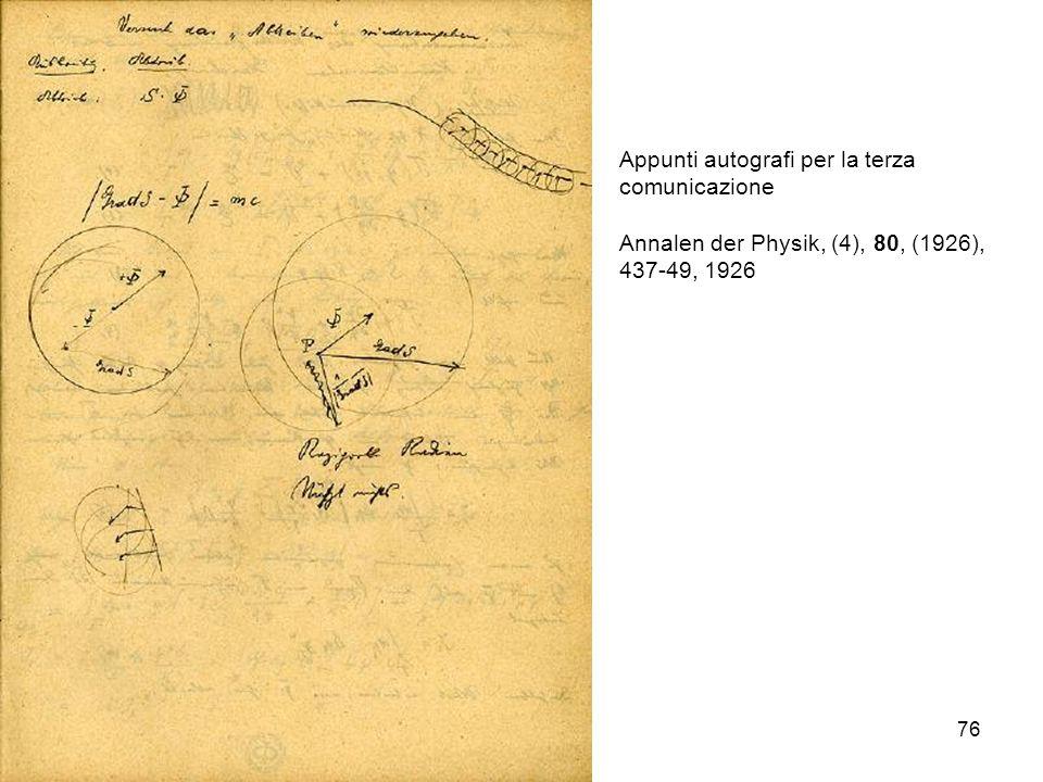 Appunti autografi per la terza comunicazione
