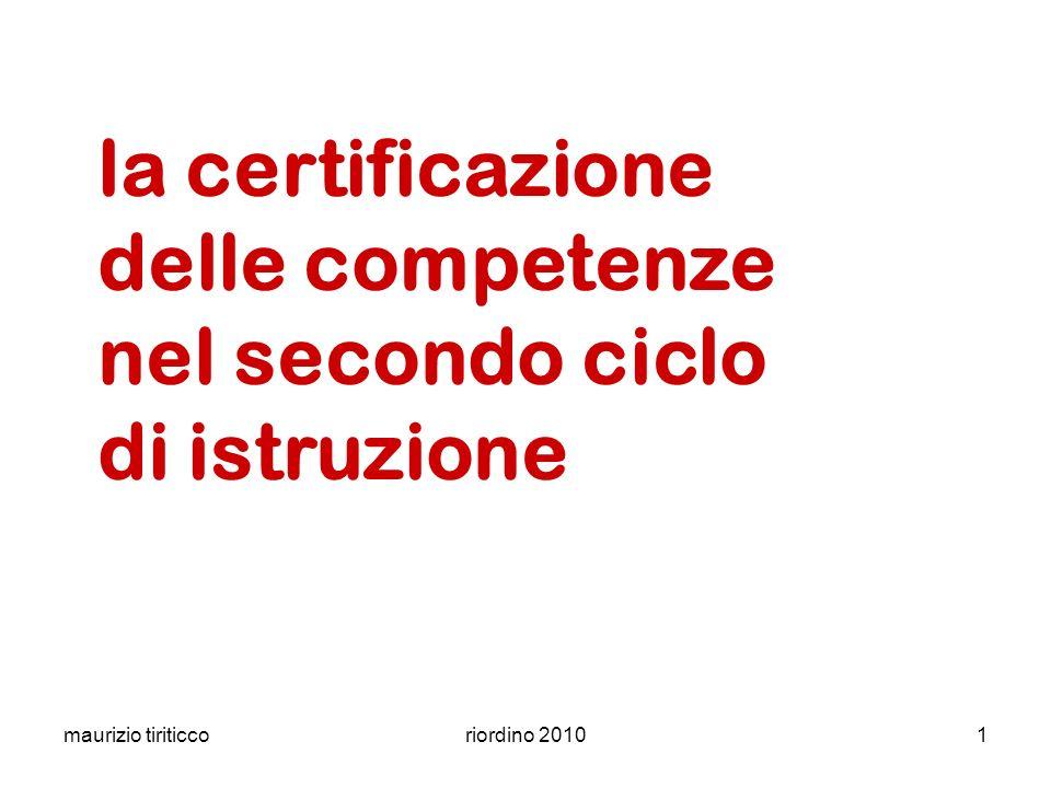 la certificazione delle competenze nel secondo ciclo di istruzione
