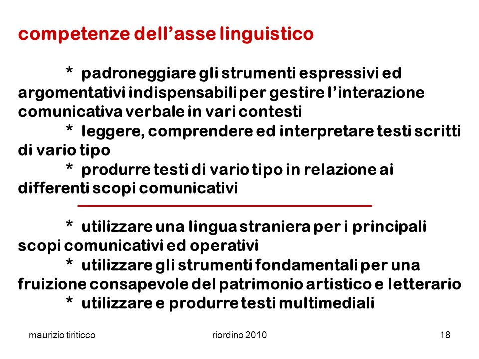 competenze dell'asse linguistico