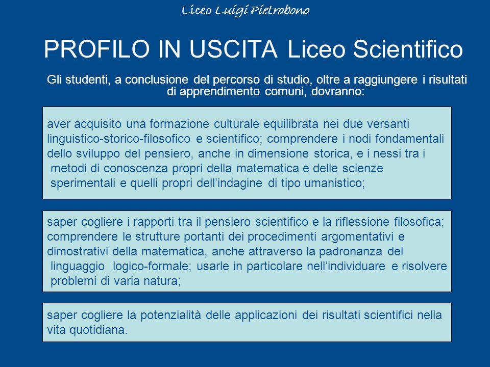 PROFILO IN USCITA Liceo Scientifico