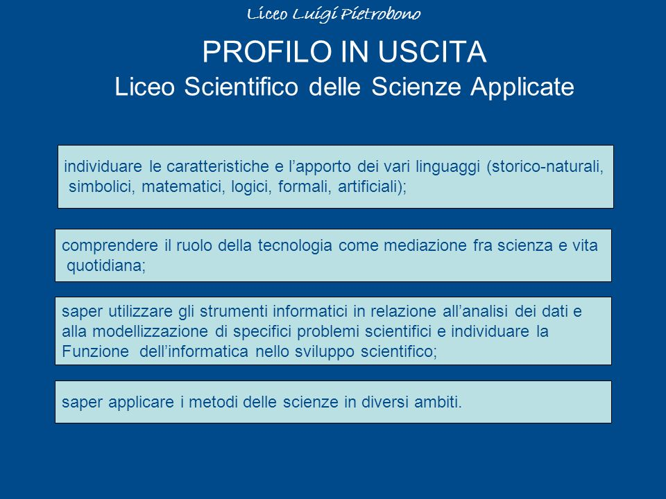 PROFILO IN USCITA Liceo Scientifico delle Scienze Applicate
