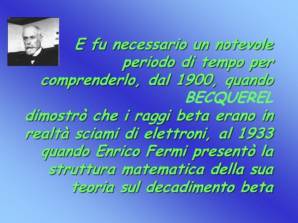 E fu necessario un notevole periodo di tempo per comprenderlo, dal 1900, quando BECQUEREL dimostrò che i raggi beta erano in realtà sciami di elettroni, al 1933 quando Enrico Fermi presentò la struttura matematica della sua teoria sul decadimento beta