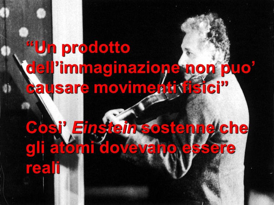 Un prodotto dell'immaginazione non puo' causare movimenti fisici Cosi' Einstein sostenne che gli atomi dovevano essere reali