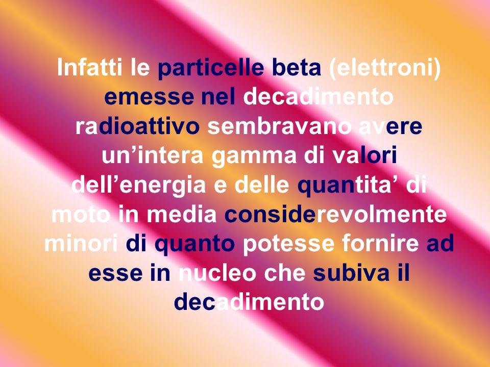 Infatti le particelle beta (elettroni) emesse nel decadimento radioattivo sembravano avere un'intera gamma di valori dell'energia e delle quantita' di moto in media considerevolmente minori di quanto potesse fornire ad esse in nucleo che subiva il decadimento