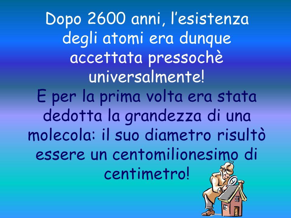 Dopo 2600 anni, l'esistenza degli atomi era dunque accettata pressochè universalmente.