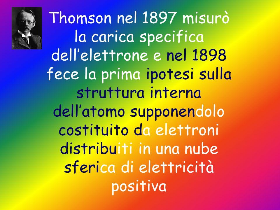 Thomson nel 1897 misurò la carica specifica dell'elettrone e nel 1898 fece la prima ipotesi sulla struttura interna dell'atomo supponendolo costituito da elettroni distribuiti in una nube sferica di elettricità positiva