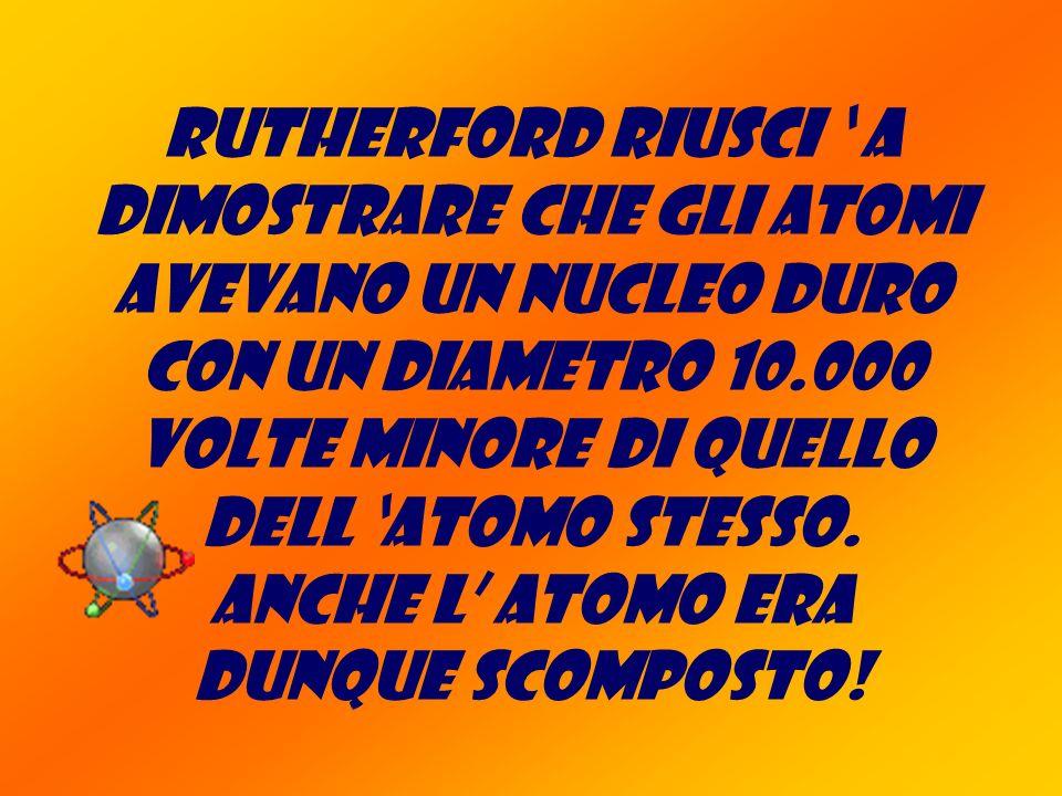 Rutherford riusci ' a dimostrare che gli atomi avevano un nucleo duro con un diametro 10.000 volte minore di quello dell 'atomo stesso.