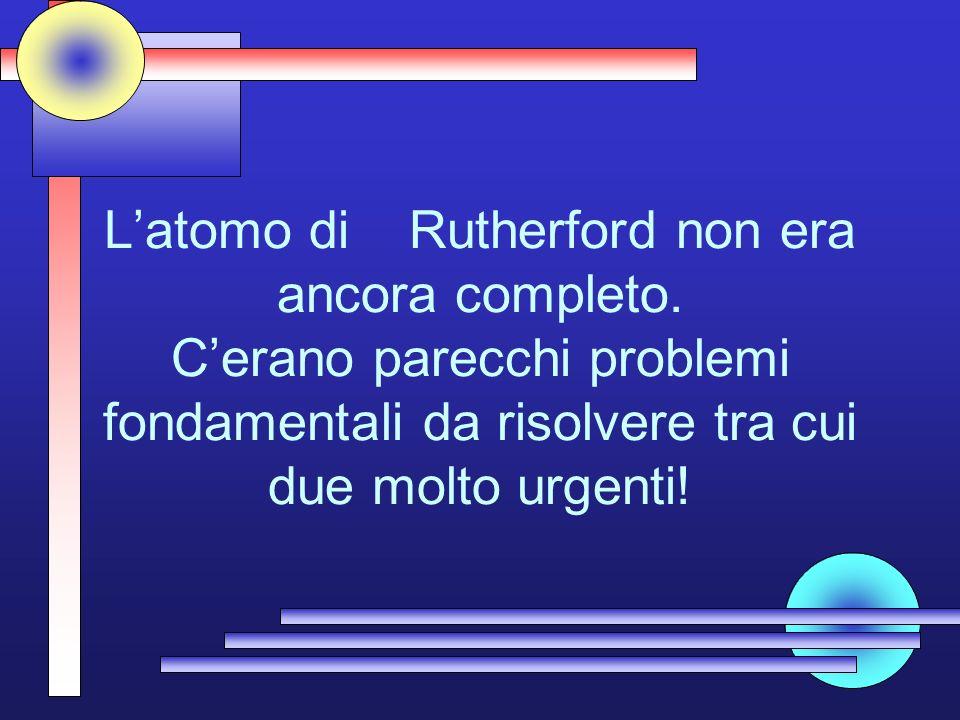 L'atomo di Rutherford non era ancora completo