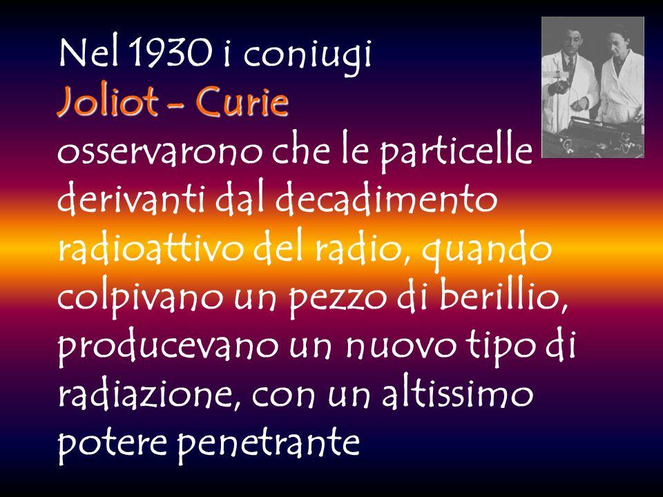 Nel 1930 i coniugi Joliot - Curie osservarono che le particelle derivanti dal decadimento radioattivo del radio, quando colpivano un pezzo di berillio, producevano un nuovo tipo di radiazione, con un altissimo potere penetrante