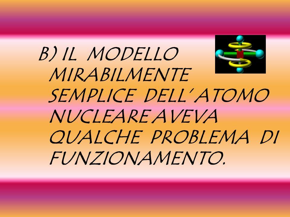 B) IL MODELLO MIRABILMENTE SEMPLICE DELL' ATOMO NUCLEARE AVEVA QUALCHE PROBLEMA DI FUNZIONAMENTO.