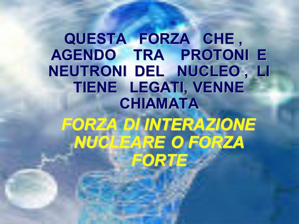 FORZA DI INTERAZIONE NUCLEARE O FORZA FORTE