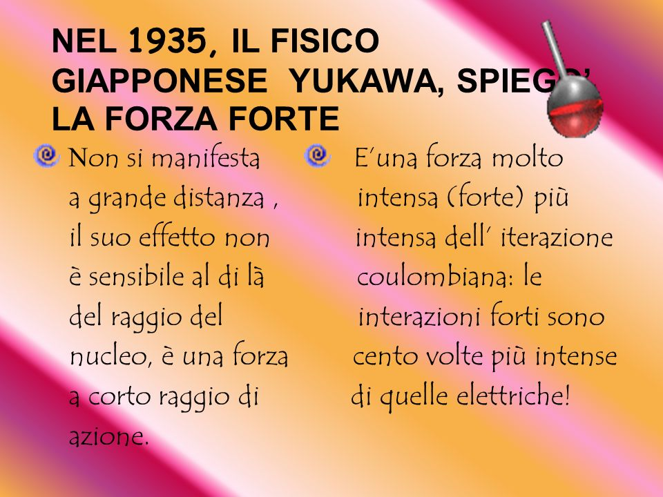 NEL 1935, IL FISICO GIAPPONESE YUKAWA, SPIEGO' LA FORZA FORTE