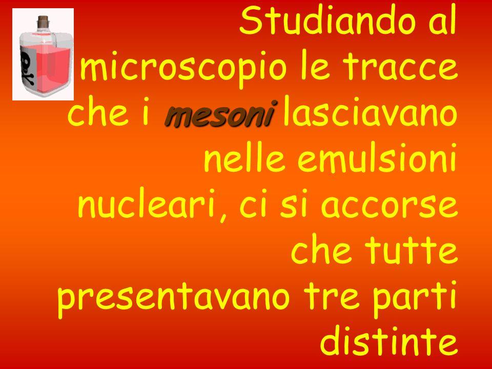 Studiando al microscopio le tracce che i mesoni lasciavano nelle emulsioni nucleari, ci si accorse che tutte presentavano tre parti distinte