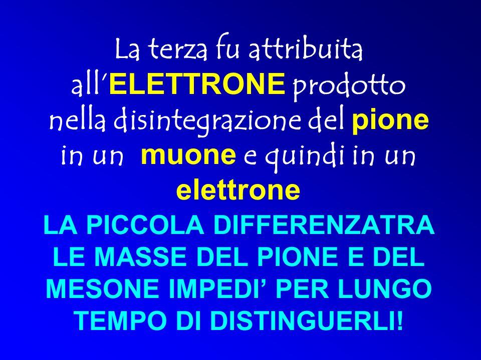 La terza fu attribuita all'ELETTRONE prodotto nella disintegrazione del pione in un muone e quindi in un elettrone LA PICCOLA DIFFERENZATRA LE MASSE DEL PIONE E DEL MESONE IMPEDI' PER LUNGO TEMPO DI DISTINGUERLI!