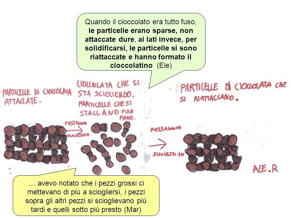 Quando il cioccolato era tutto fuso, le particelle erano sparse, non attaccate dure, ai lati invece, per solidificarsi, le particelle si sono riattaccate e hanno formato il cioccolatino (Ele)
