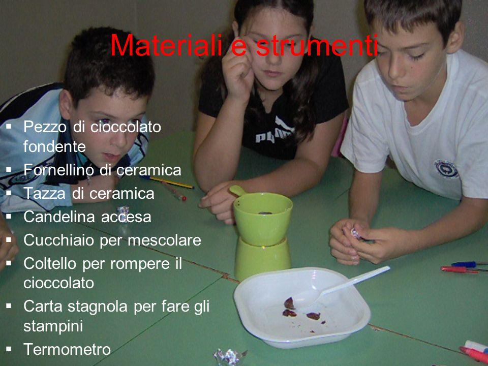 Materiali e strumenti Pezzo di cioccolato fondente