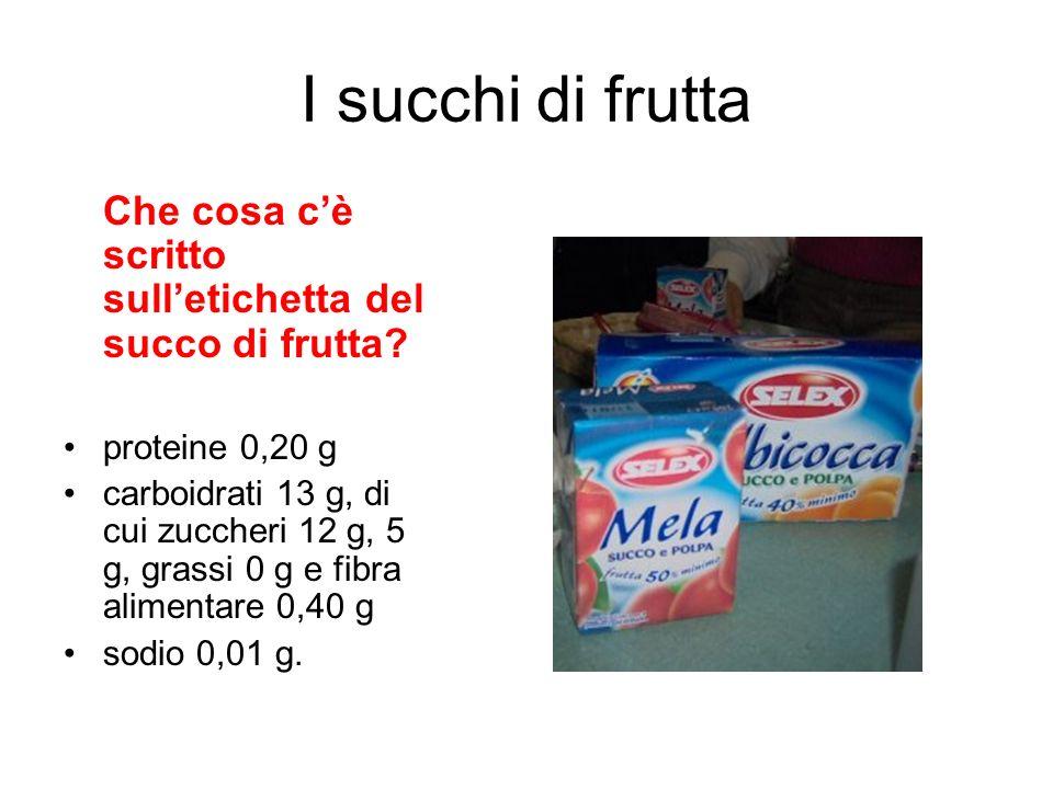 I succhi di frutta Che cosa c'è scritto sull'etichetta del succo di frutta proteine 0,20 g.