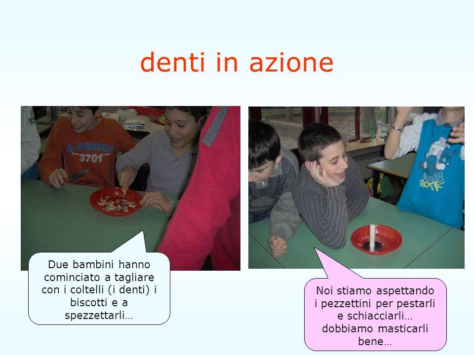 denti in azione Due bambini hanno cominciato a tagliare con i coltelli (i denti) i biscotti e a spezzettarli…