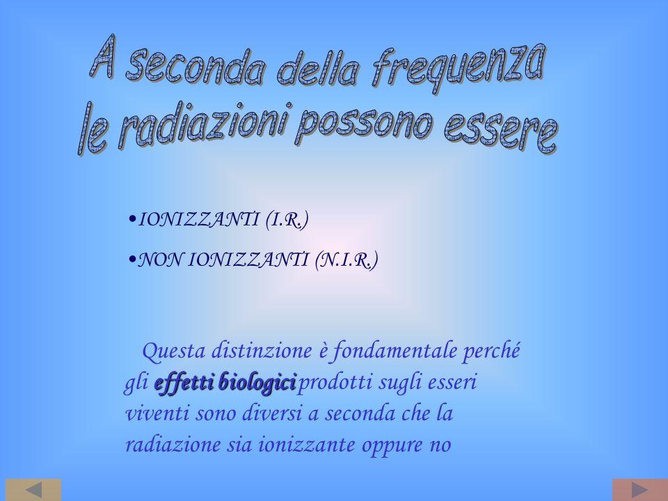 A seconda della frequenza le radiazioni possono essere