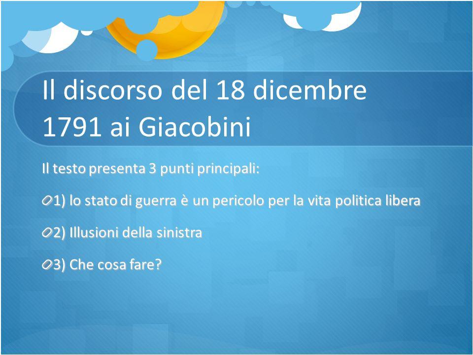 Il discorso del 18 dicembre 1791 ai Giacobini