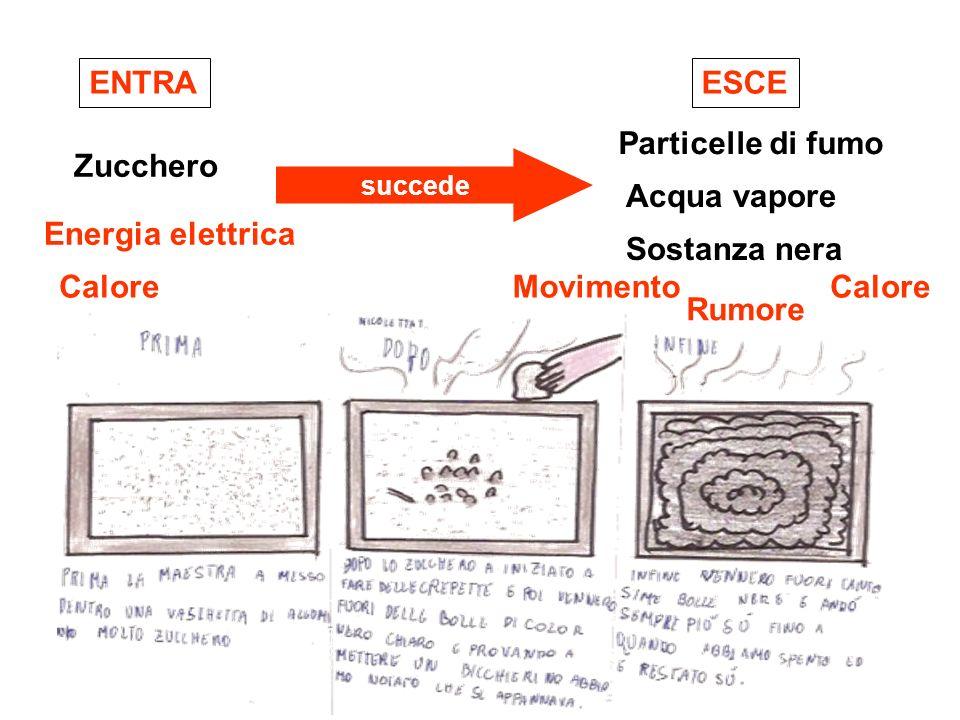 ENTRA ESCE Particelle di fumo Zucchero Acqua vapore Energia elettrica