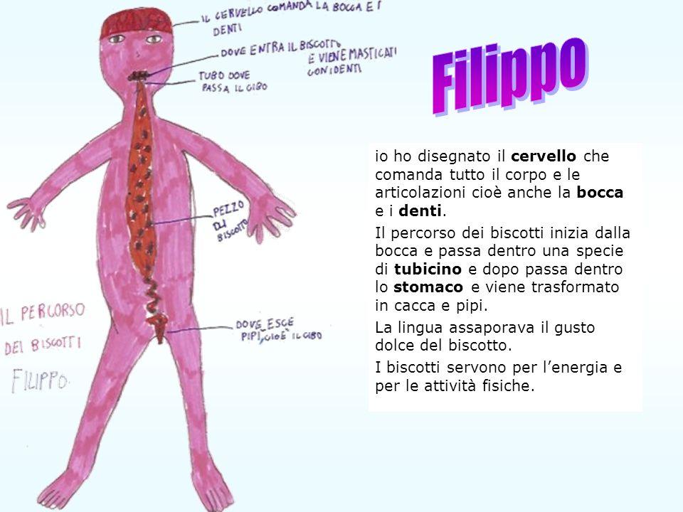 Filippo io ho disegnato il cervello che comanda tutto il corpo e le articolazioni cioè anche la bocca e i denti.