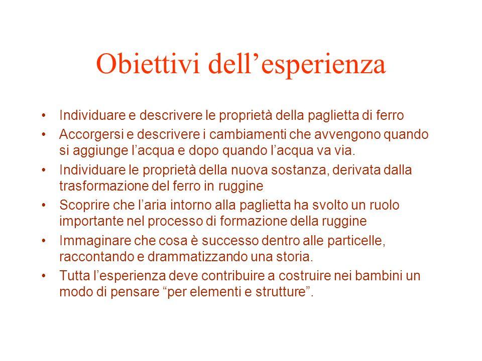 Obiettivi dell'esperienza
