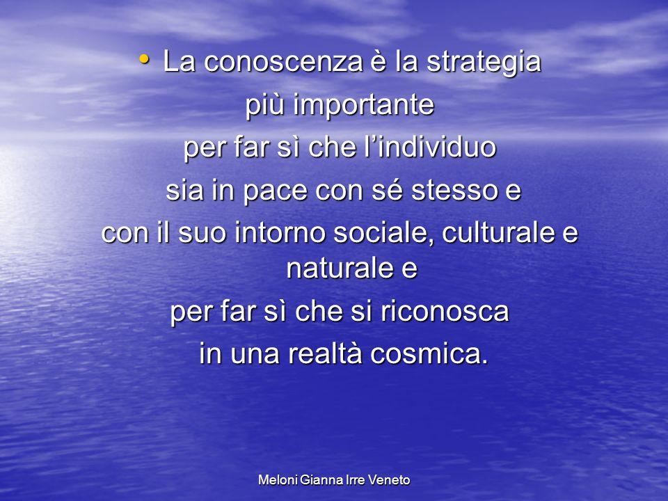 La conoscenza è la strategia più importante per far sì che l'individuo