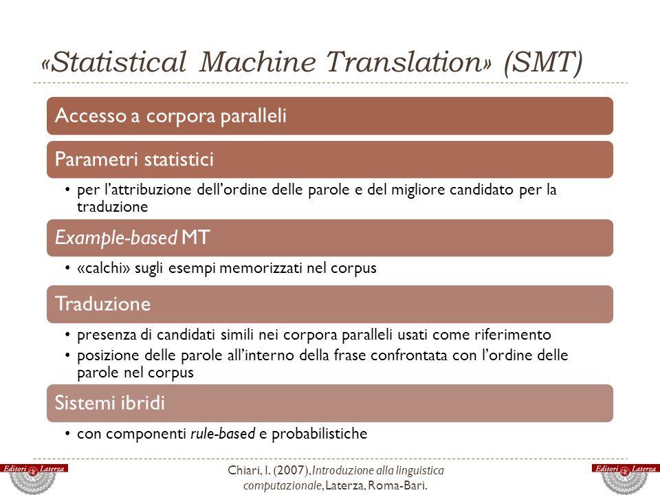 «Statistical Machine Translation» (SMT)