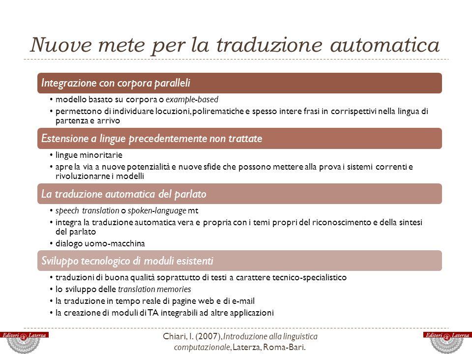 Nuove mete per la traduzione automatica
