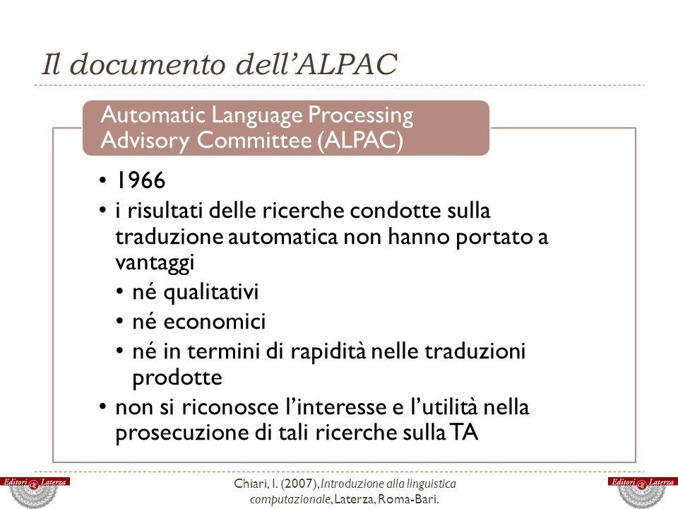 Il documento dell'ALPAC