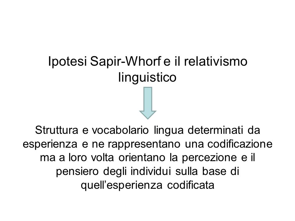 Ipotesi Sapir-Whorf e il relativismo linguistico