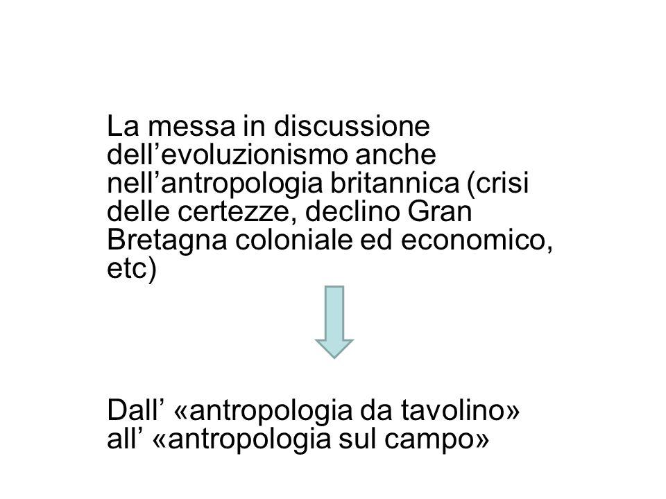 La messa in discussione dell'evoluzionismo anche nell'antropologia britannica (crisi delle certezze, declino Gran Bretagna coloniale ed economico, etc)