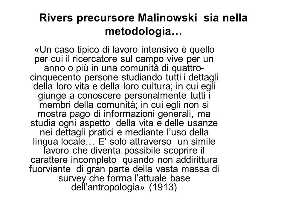 Rivers precursore Malinowski sia nella metodologia…