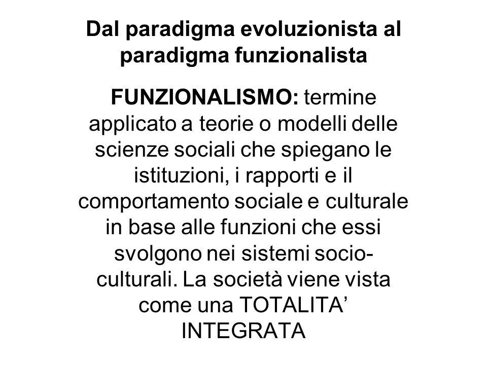 Dal paradigma evoluzionista al paradigma funzionalista
