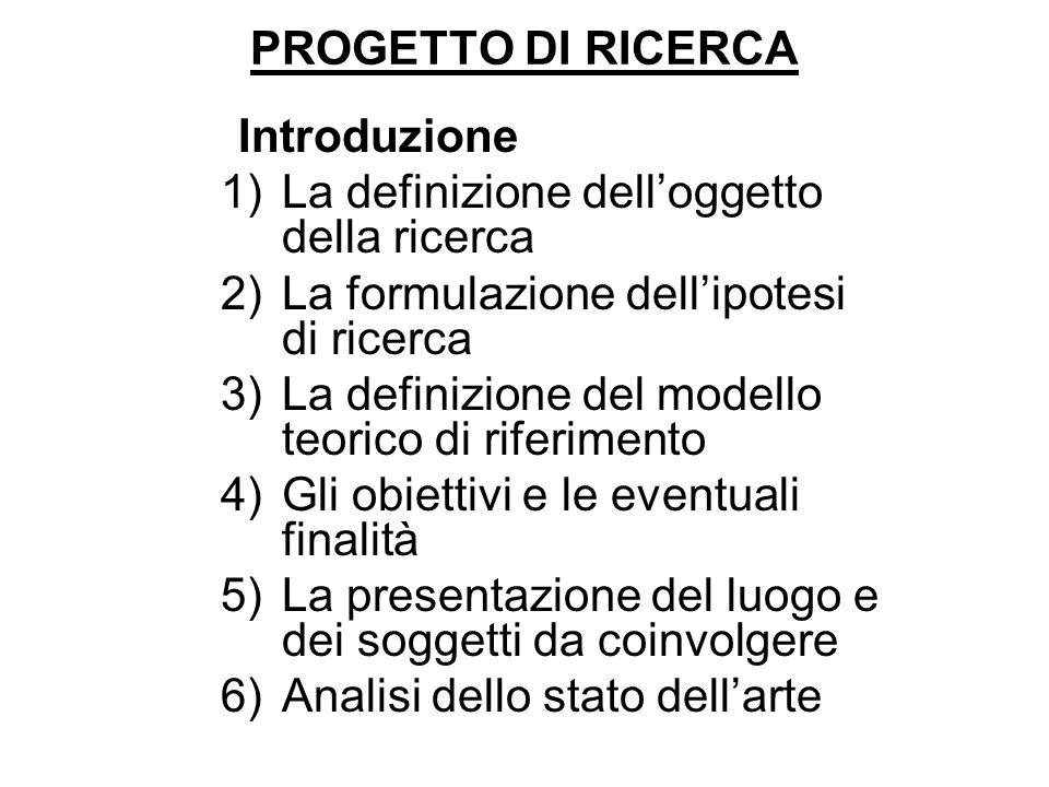 PROGETTO DI RICERCA Introduzione. La definizione dell'oggetto della ricerca. La formulazione dell'ipotesi di ricerca.